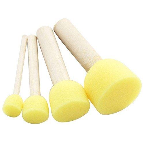 SODIAL ( R ) 4pcs /セット黄色スポンジブラシシールスポンジペイントブラシ木製ハンドル子供ペイントツールグラフィティキッズDIY Doodle Drawingおもちゃ