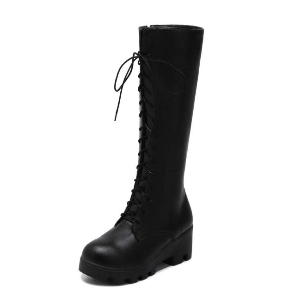 f529812eb Amazon.com: SHANGWU Women Biker Calf Boots/Lace Up Lady Flat Fur ...