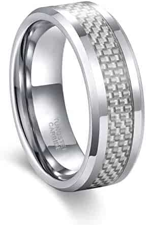 a08c3c6973 Frank S.Burton 6mm 8mm White/Blue Carbon Fiber Tungsten Carbide Wedding  Band Ring