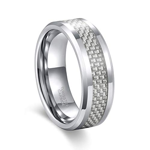 8mm White Carbon Fiber Inlay Tungsten Carbide Ring for Him and Her Comfort Fit Size 7.5