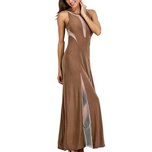grande Talla mujer empalme Through Cocktail Coffee Vestido Full S de Length moichien de para Malla fiesta See Ai 5xl qHWwSEU5c