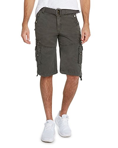 9 Crowns Men's Slim Fit Cotton Twill Cargo Utility Shorts-Oxford-34