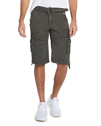 9 Crowns Men's Slim Fit Cotton Twill Cargo Utility - Cotton Shorts Combat
