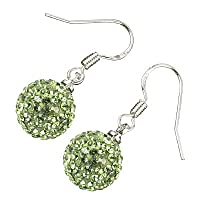 Sterling Silver Plated, 12MM Various Colors AB Clay Crystal Shamballa Balls, Dangle Drop Earrings, 28mm X 12mm
