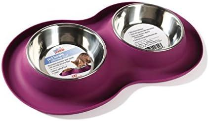 Pet Parade Cat/Small Dog Juego de Mesa de alimentación con 2 Cuencos y Alfombrilla Antideslizante, Silicona, Granate: Amazon.es: Hogar