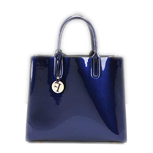 Brillante Charol sólido Bolsas para Mujer Señoras Simple Bolsos Casual bolsas bandoleras Sac del hombro un bolso principal rojo 30cmXLongitud máx.X50cm Blue