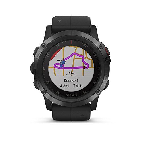 Garmin fēnix 5 Plus, Premium Multisport GPS Smartwatch, Features Color TOPO Maps, Heart Rate Monitoring, Music and Garmin Pay, Black with Black Band