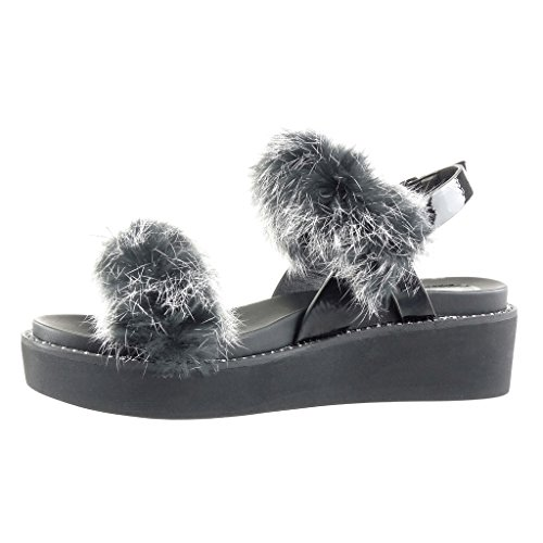 Angkorly Women's Fashion Shoes Sandals Mules - Platform - Pom Pom - Fur Wedge Platform 5 cm Black 4VU7s