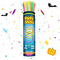 PartySticks Glow Sticks Bulk Party Favors 100pk with Connectors - 8 Inch Glow in the Dark Party Supplies, Neon Party Glow...