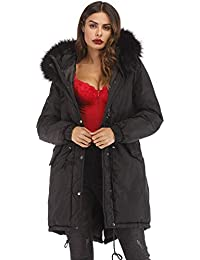 4b7ddde021e6b Women s Plus Size Winter Warm Long Thick Down Hooded Parka Coat Cardigan  Zip Jacket Top Fashion