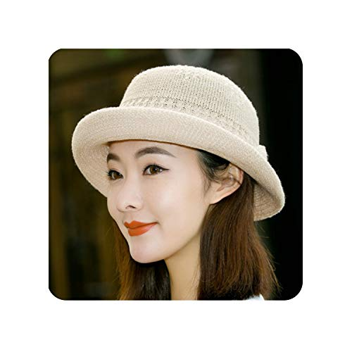 New Spring Summer Hats for Women Curling Bow