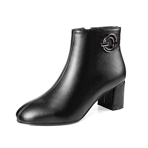 Botines de tacón Cuadrado con Punta Cuadrada para Mujer, Botines Cortos, Negros, 36: Amazon.es: Zapatos y complementos