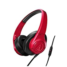 Audio Technica ATH-AX3iS Sonicfuel Over-Ear Headphones for Smartphones-Red