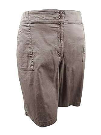 Karen Scott Womens Plus Comfort Waist Summer Casual Shorts - Brown - 22