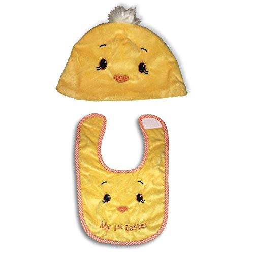 (Plum Nellie's Treasures Baby First Easter - Bunny Ears Hat, Chick Hat & Chick Bibs (Boy & Girl) Easter Beanie or Bib for Baby (Chick Beanie & Chick Bib Set))