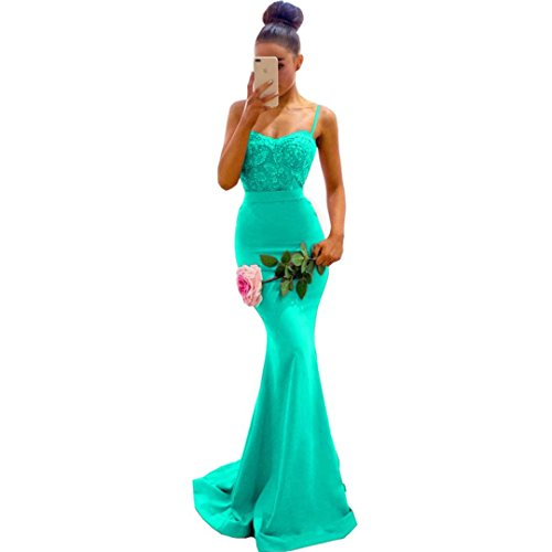 Chady Turquoise Lace Mermaid Bridesmaid Dresses 2018 Spaghetti Straps Sweep Train Bridesmaid Gowns Satin Backless Wedding Guest Dresses