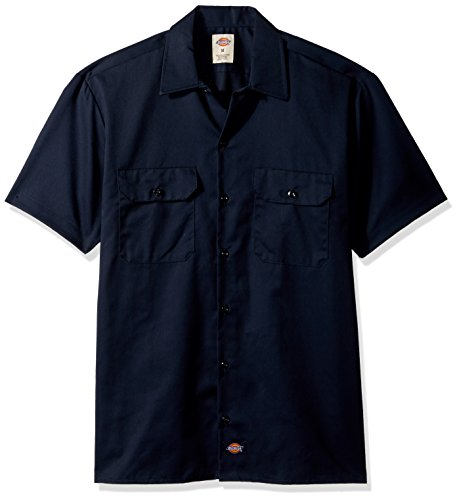 Dickies Men's Big and Tall Short Sleeve Work Shirt, Dark Navy, Large (Mens Work Uniforms)