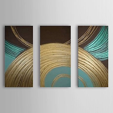 Sanbay Art 100% Hand Painted Oil Paintings on Canvas Hot Sale Elegant Blue and Golden Lines Wood Framed Inside 3-pieces Set Artwork for Living Room Kitchen and Home Wall Decoration