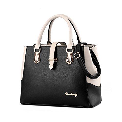 Tisdain Il nuovo raccoglitore di capacità della borsa femminile del sacchetto del messaggero della spalla di modo dell'unità di elaborazione delle borse delle nuove signore Nero