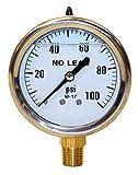 Merrill MFG PGLNL100 0-100 PSI No-Lead Liquid Filled Stainless Steel Case Pressure Gauge, Brass/Stainless Steel