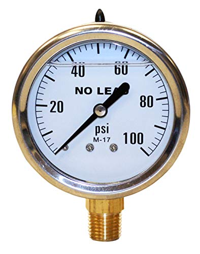 - Merrill MFG PGLNL100 0-100 PSI No-Lead Liquid Filled Stainless Steel Case Pressure Gauge, Brass/Stainless Steel