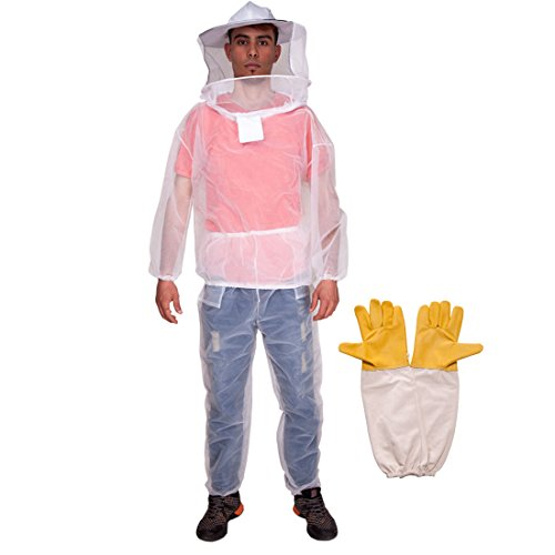 Feekr Professional Summer Beekeeping Suit Jacket with Pants and Goat Skin Long Sleeve Gloves, Medium,Transparent Color