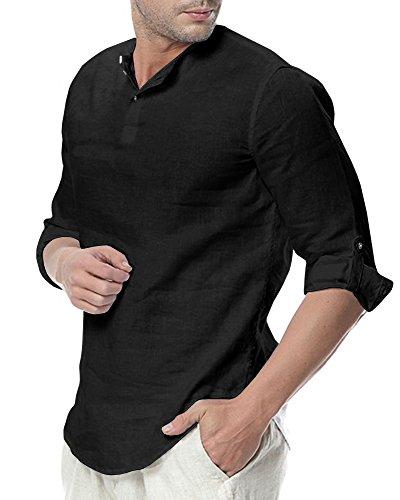 SySea Men's Casual 3/4 Sleeve Linen Henley T-Shirt High Low Solid Beach Yoga Top (Black, Medium)