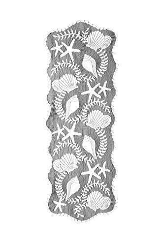 (Heritage Lace Tidepool Table Runner, 14 by 40-Inch, White)