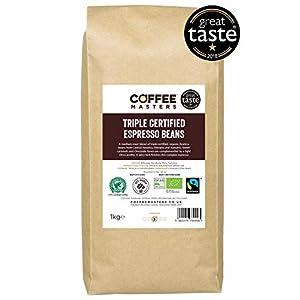 Coffee Masters Chicchi di caffè Arabica con Tripla Certificazione Organici, Fairtrade 1kg - Vincitore del premio Gran…