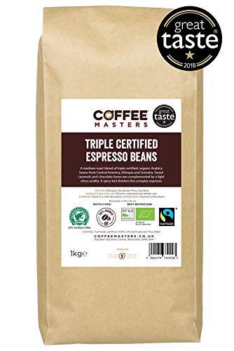 Coffee Masters Triple Certified, Organic, Fairtrade, Arabica Coffee Beans 1kg -...
