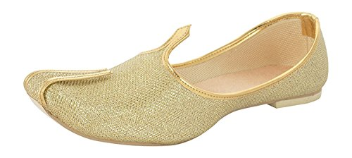 Handcrafted Luxury Aladdin Men's wediing Khussa Shoe Mojari Jooti Jutti Golden US 8.5 -
