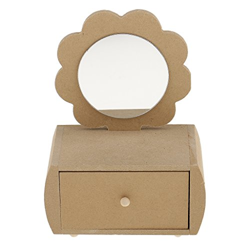 - Flower Unfinished Wooden Jewelry Box with Drawer Mirror for DIY Craft