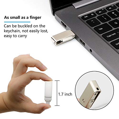 USB Drive 128GB USB Memory Stick Flash Drives for iPhone Photo Stick External Drive Sunswan Compatible iPhone iPad iOS MacBook and Computer (Silver128G-XY) by sunswan (Image #3)