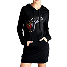 Elva Women Pockets Pullover Kangaroo Hoodie Daft Punk Sweatshirt Dress Black