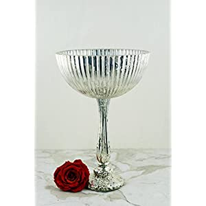 """Silver Venice Compote 9.5"""" x 14"""" - Excellent Home Decor - Outdoor Indoor 2"""