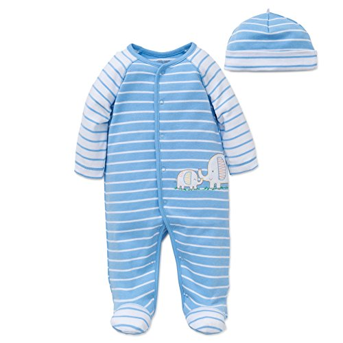 Little Me Baby Boys' Footies, Light Blue Stripe, New Born