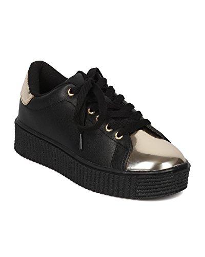 Women Leatherette Flatform Sneaker - Platform Capped Toe Sneaker - Two Tone Everyday Sneaker - GH33 by Cape Robbin - Black (Size: (Girls Black Hazel Shoes)