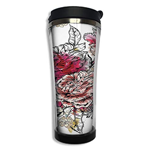 Travel Coffee Mug 3D Printed Portable Vacuum Cup,Insulated Tea Cup Water Bottle Tumblers for Drinking with Lid 8.45 OZ(250 ml)by,Floral,Romantic Rose Petals Bouquet Bridal Wedding Themed Nostalgic ()