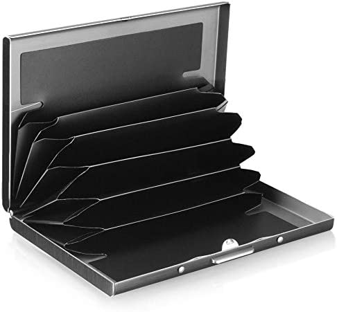 Edelstahl verdickt antimagnetische Kreditkarte Visitenkarte Tragbarer Halter Metallblock Brieftasche Protect Simple Slim Case - Schwarz