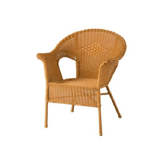 Resin Wicker Arm Stackable Chair - Honey - 24