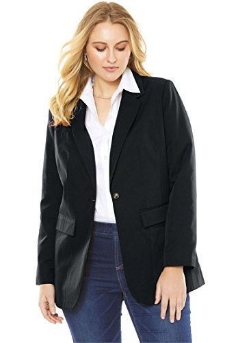Women's Plus Size Boyfriend Blazer Black,26 W