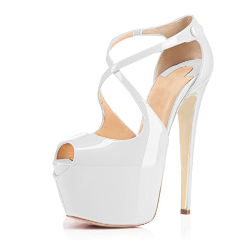5 1/2 Inch Ankle Strap Platform - Women Peep Toe Cross Over Strap Pumps - 1 1/2 inches Hidden Platform Sandals - 6 inches Covered Stiletto High Heels (9.5, White)