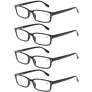 READING GLASSES 4 Pack Spring Hinge Comfort Readers Plastic Includes Sun Readers (4 Pack Black, 1.25)