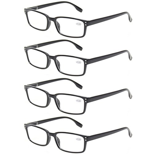 READING GLASSES 4 Pack Spring Hinge Comfort Readers Plastic Includes Sun Readers (4 Pack Black, - Glasses For Reading Women