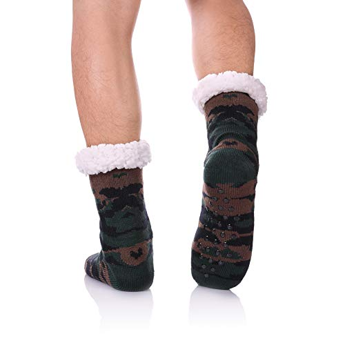 CHOWISH Men's Slipper Socks Winter Thermal Fleece Lining Camouflage Non Slip Stockings (Camouflage 1) ()