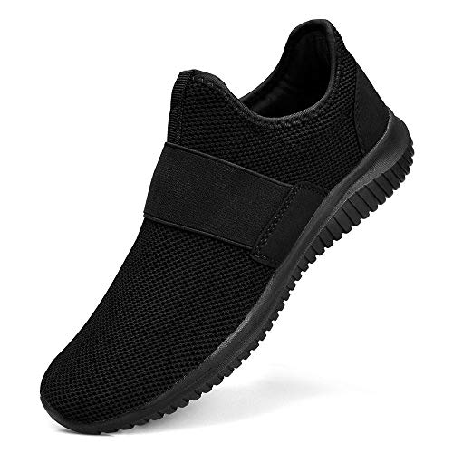 Guteidee Men Women Fashion Sneakers Athletic Mesh Lightweight Slip-on Running Shoes Black