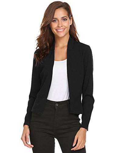 Concep Women Collarless Open Front Blazer Long Sleeve Slim Fit Cropped Jacket (Black S (Collarless Cropped Jacket)