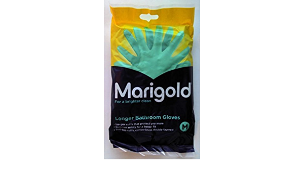 Marigold Bathroom Gloves Cotton Lined Longer Cuffs Double Layered Protection M L