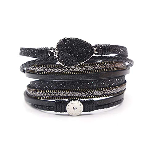 - bobauna Multi-Layer Leather Wrap Bracelet Lava Stone Multi Rope Cuff Bangle with Magnetic Clasp Handmade Jewelry for Women Girl (Leather wrap Bracelet Black)