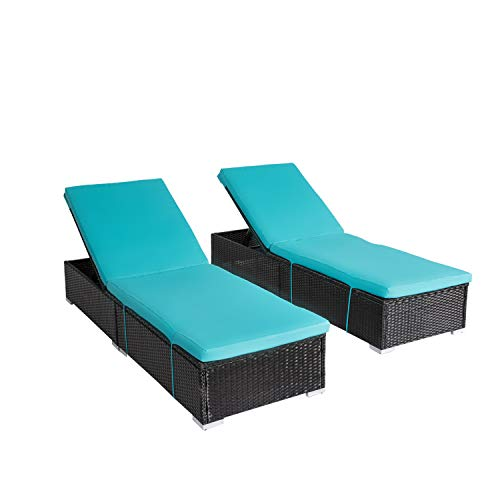 Kinbor 2-Pieces All-Weather Adjustable Outdoor Patio Lounge Chairs Furniture PE Wicker Chaise Lounge with Removable ()